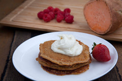 Sweet Potato and Cinnamon High Protein Pancakes (Veg.)