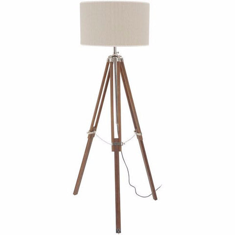 Rowley Natural Wood and Nickel Tripod Standard Lamp Ticking Shade Suk