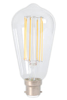 Rustic LED Straight Filament Lamp B22 - Clear Finish