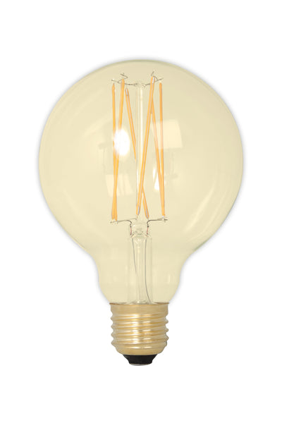 Medium Globe (95mm) LED Straight Filament Lamp E27 - Gold Finish