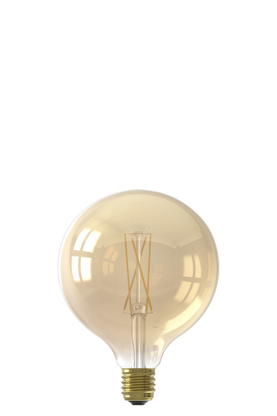 Large Globe (125mm) LED Straight Filament Bulb - Gold Finish