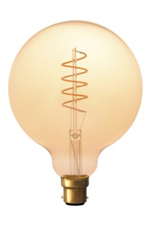Large Globe (125mm) LED Spiral Filament Lamp B22 - Gold Finish
