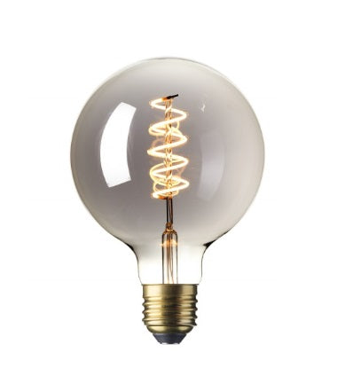 Large Globe (125mm) LED Spiral Filament Lamp E27 - Titanium Finish