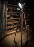 Spotlight Floor Lamp with Natural Wooden Tripod