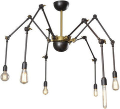 Bowes Black and Brass 6 arm spider Chandelier