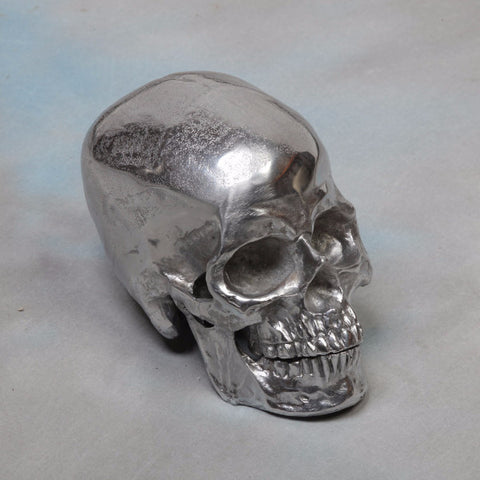 Polished Aluminium Skull Table Decor