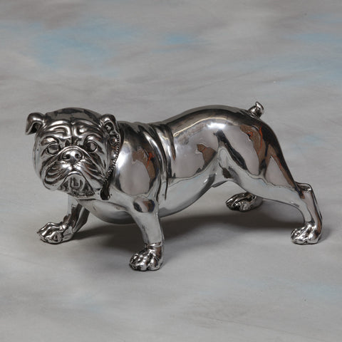 Bulldog with Diamonte Collar - Silver Effect