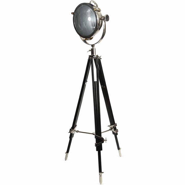Rolls Headlamp Spotlight - Polished Nickel With Black Wooden Tripod