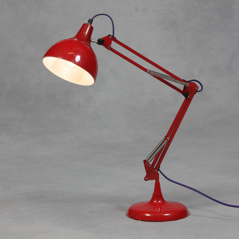 Red Traditional Large Desk Lamp (Purple Fabric Flex)