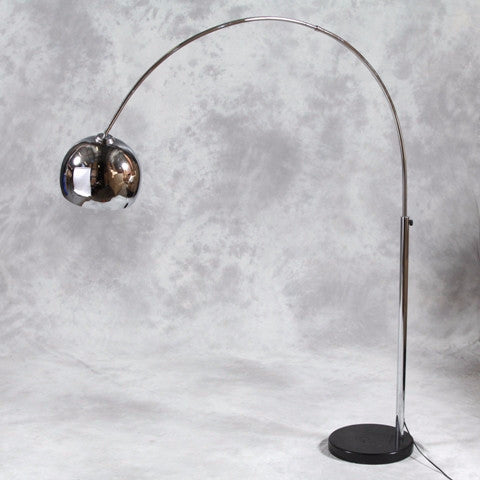 Chrome Arc Style Lamp with Black Marble Base