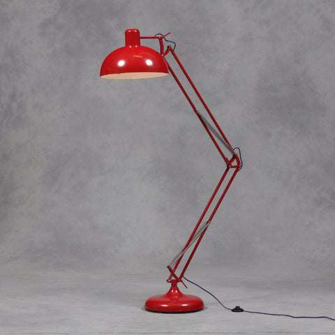 Red Extra Large Classic Desk Style Floor Lamp (Purple Fabric Flex)