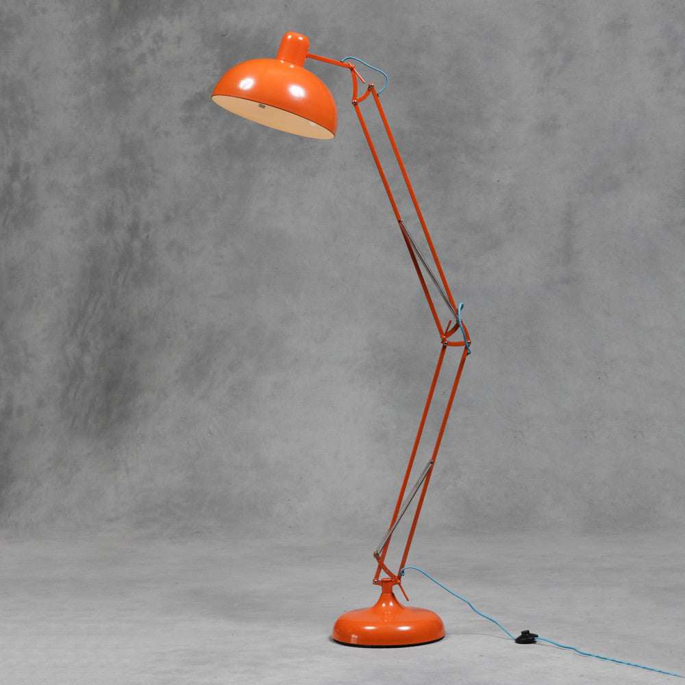Orange Extra Large Classic Desk Style Floor Lamp (Blue Fabric Flex)