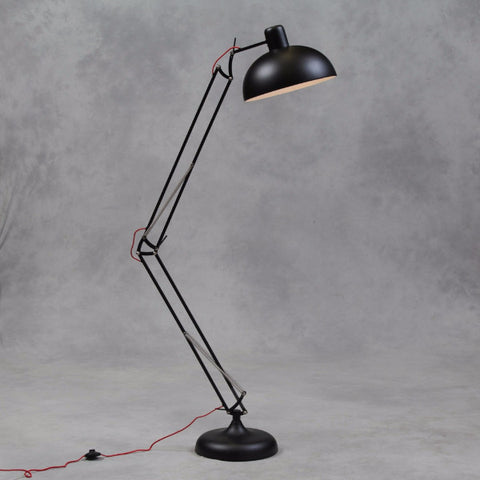 Matt Black Extra Large Classic Desk Style Floor Lamp (Red Fabric Flex)