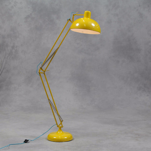 Yellow Extra Large Classic Desk Style Floor Lamp (Blue Fabric Flex)
