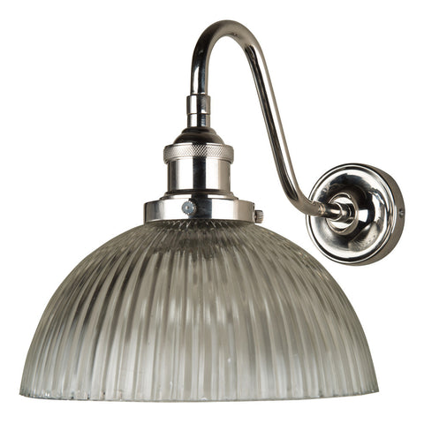 Polished Nickel Curved Fitment With Ribbed Glass Dome Shade