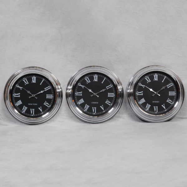 Small Chrome with Black Face Set 3 World Clocks