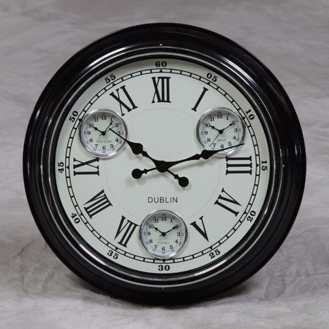 "Black with White Face ""Dublin"" Multi Dial Wall Clock with New York, Paris and Sydney Dials"
