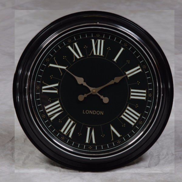 "Black with Black & Gold Face ""London"" Modern Wall Clock"