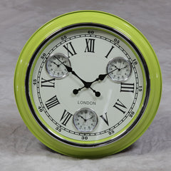 "Lime Green with White Face ""London"" Multi Dial Wall Clock"