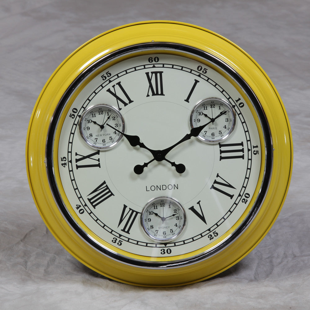 "Yellow with White Face ""London"" Multi Dial Wall Clock"