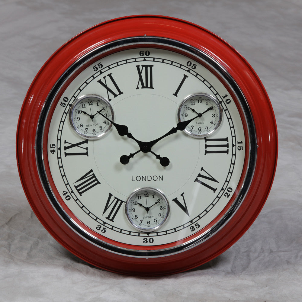 "Red with White Face ""London"" Multi Dial Wall Clock"
