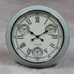 "Light Blue with White Face ""London"" Multi Dial Wall Clock"