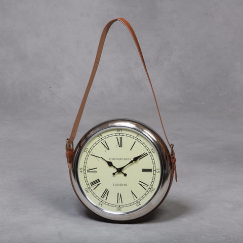Chrome Pocket Watch Wall Clock with Strap