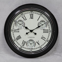 "Black with White Face ""London"" Multi Dial Wall Clock"
