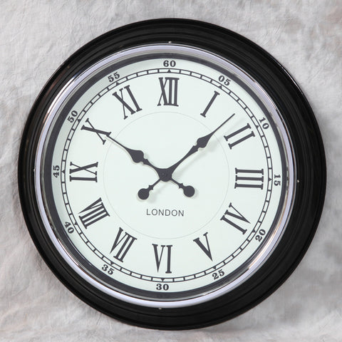 Black with White Face Modern Wall Clock