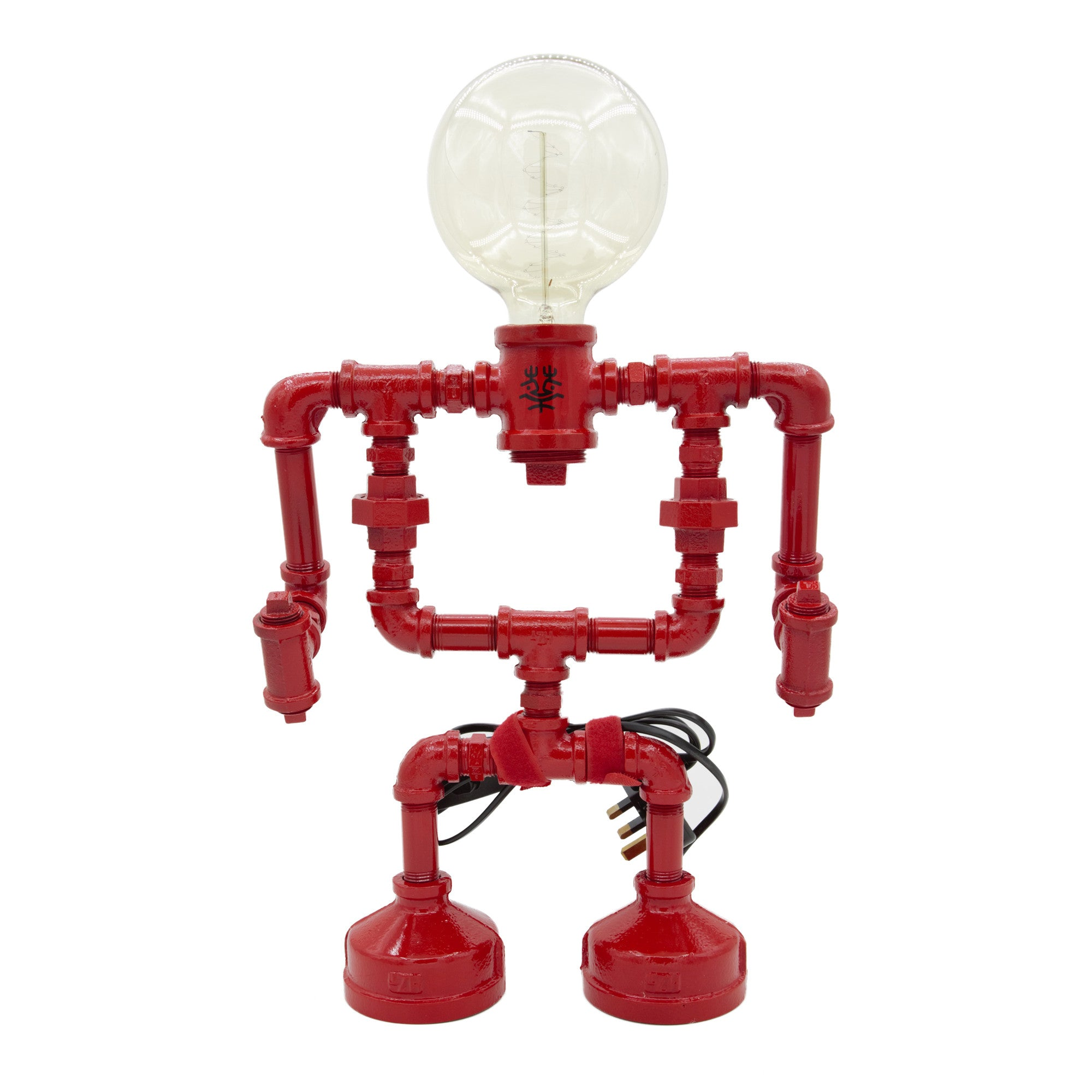 Touch Sensitive Robot Table Lamp - Large red