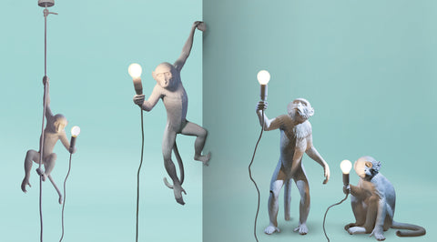 Indoor White Monkey Lamps