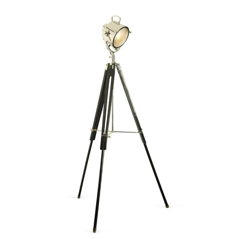 Nickel Spotlight Floor Lamp with Black Wooden Tripod
