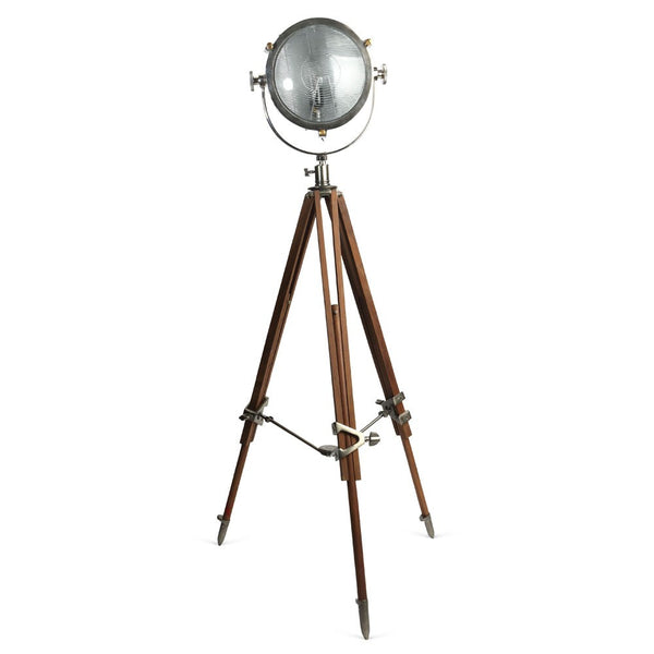Rolls Headlamp Spotlight - Polished Nickel With Natural Wood Tripod