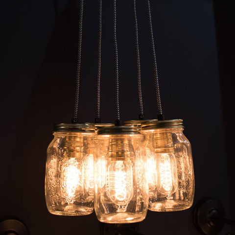 Cluster Of Five Preserve Jars Pendant Light