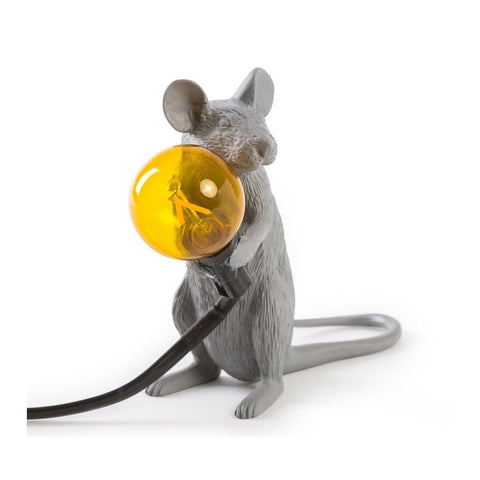 Grey Sitting Mouse Lamp