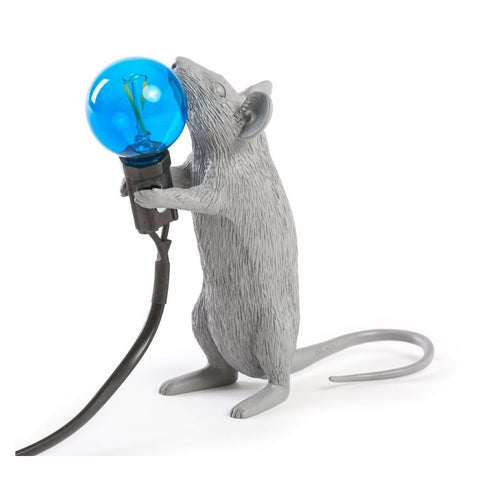 Grey Standing Mouse Lamp