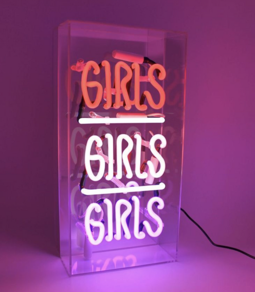'GIRLS, GIRLS, GIRLS' Acrylic Box Neon Light