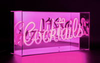 Pink 'Cocktails' Acrylic Box Neon Light