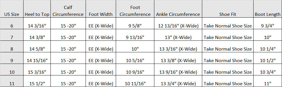 wide calf boots size guide