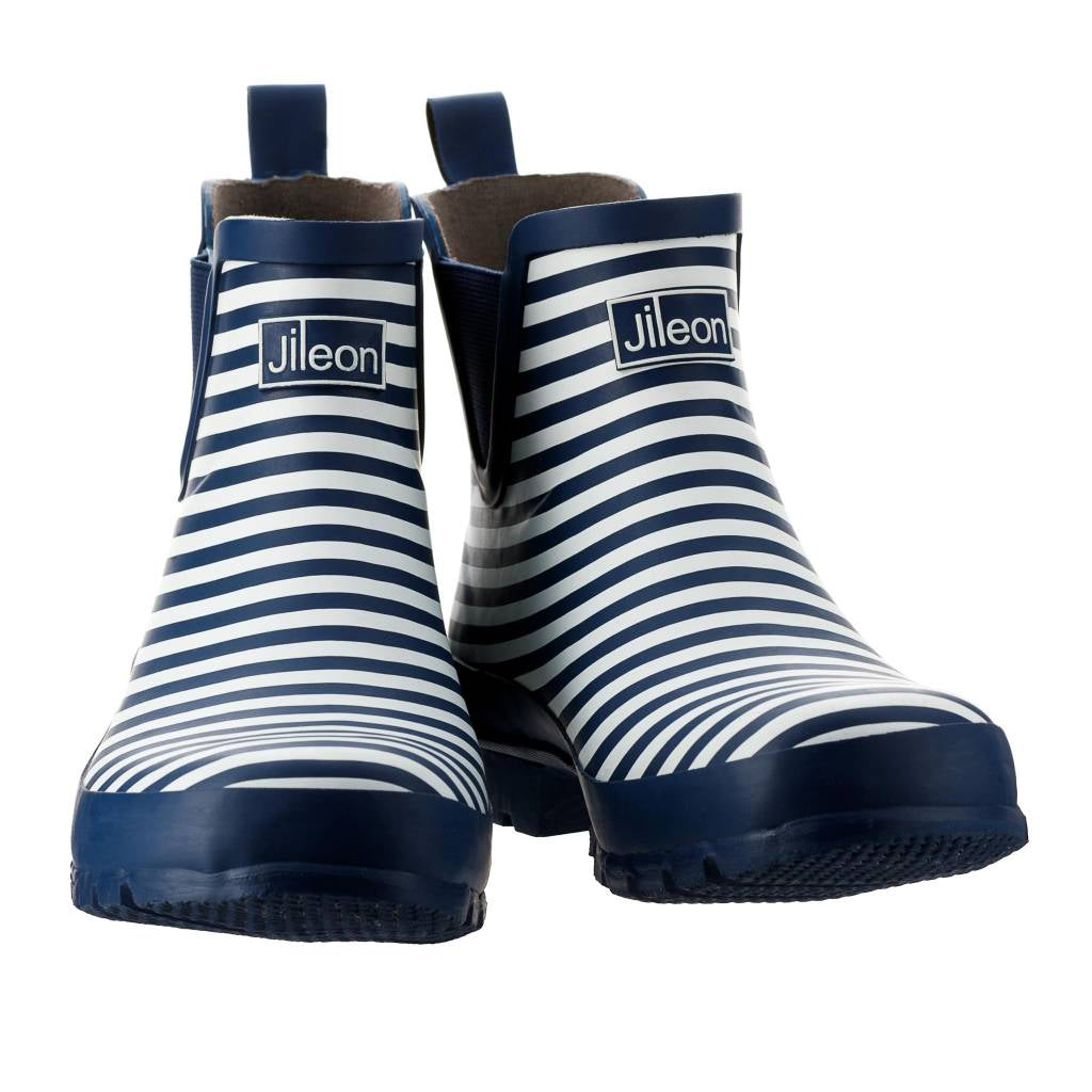 Ankle Height Rain Boots - Navy & White Stripe - Wide Foot