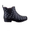 Ankle Height Rain Boots - Black with White Spots - Wide Foot