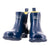 Ankle Height Rain Boots - Navy Blue Gloss - Wide Foot Widest Calf Rain Boots in US