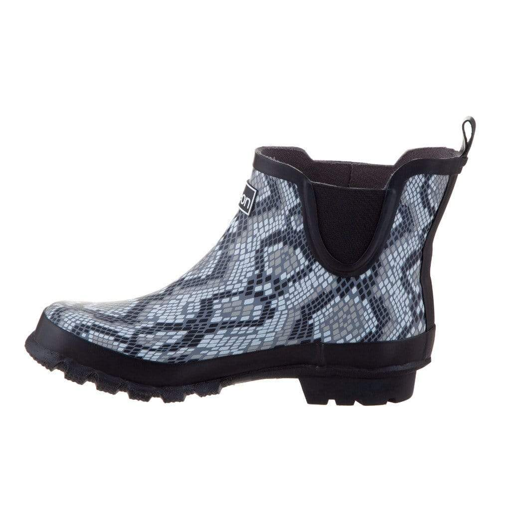 Snakeskin Ankle Rain Boots - Fit Wide