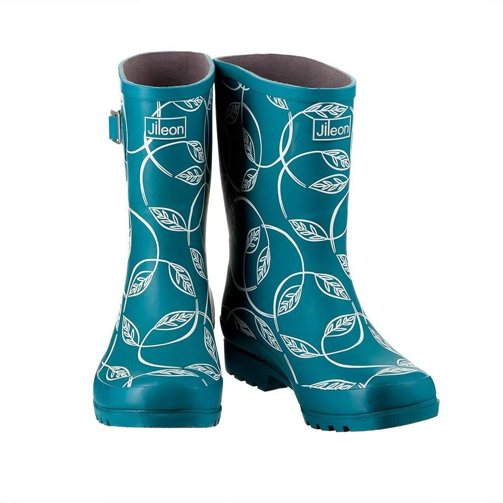 Half Height Rain Boots - Dark Teal with Leaves - Wide Foot Widest Calf Rain Boots in US