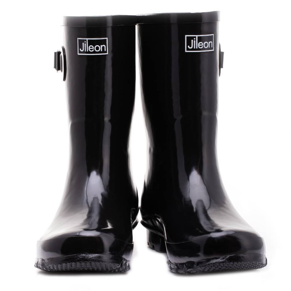 Half Height Rain Boots - Black Glossy - Wide Foot