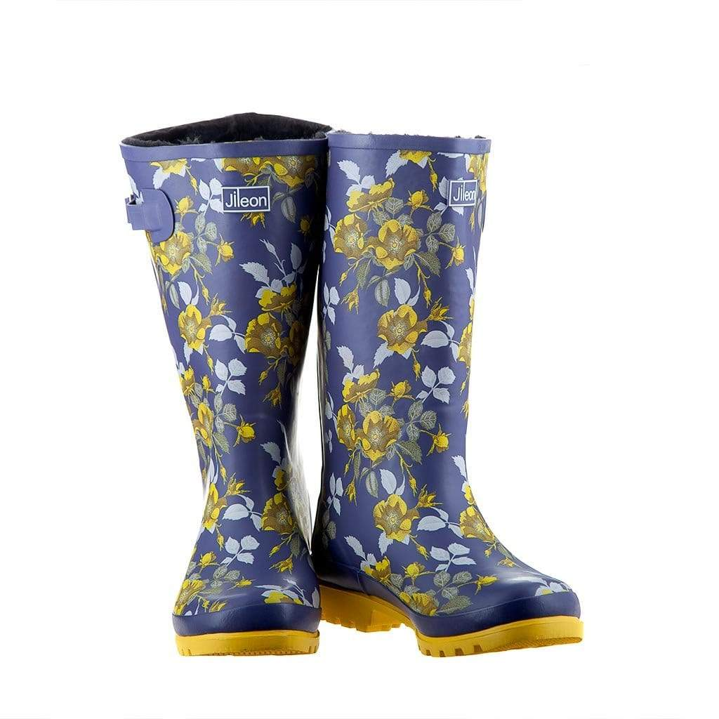 Wide Calf Rain Boots - Up to 18 inch calf - Yellow Floral - Fleece Lined Widest Calf Rain Boots in US