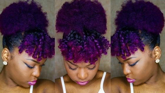 Colored Natural Hair on Fleek: High Puff Tutorial by QuiNatural