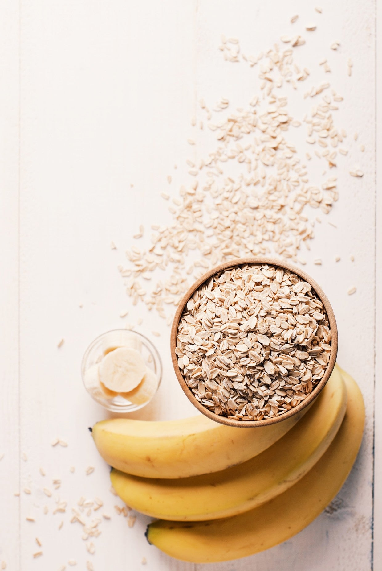 oatmeal and banana on table