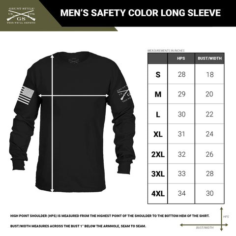 size chart for the unisex long sleeve t-shirt available in bright safety colors