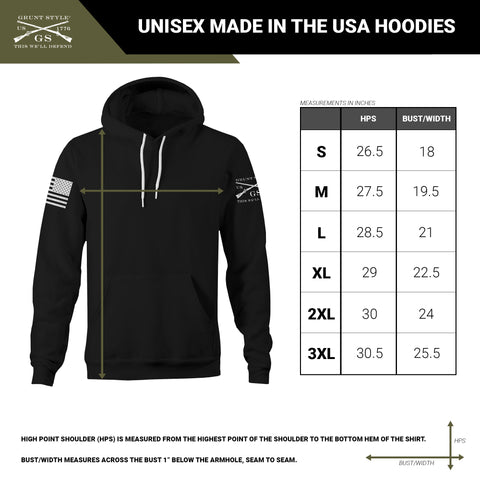 Size chart for unisex pullover hoodies that are made in the USA